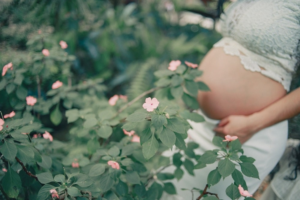 Pink Flowers and a Pregnant Woman